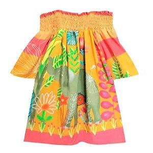 Blusa infantil feminino das meninas Elefante laranja
