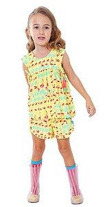 Shorts infantil feminino das meninas Flamingo amarelo