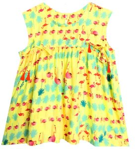 Bata infantil feminino das meninas Flamingo amarelo