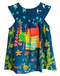 Vestido de bebê das meninas Melbourne azul estrelas