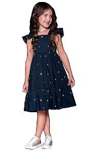 Vestido infantil feminino que te encante Stella estrela marinho