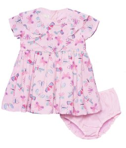 Vestido de bebê feminino que te encante rose Borboletas