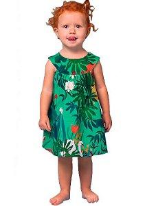 Vestido de bebê feminino Mundo Céu Patos e Veados verde
