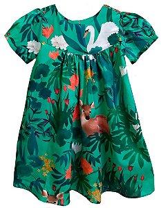 Vestido infantil feminino Mundo Céu Patos e Veados verde