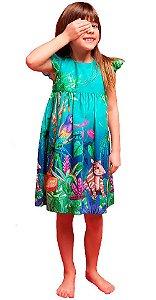 Vestido infantil feminino Mundo Céu Anta e arara Verde