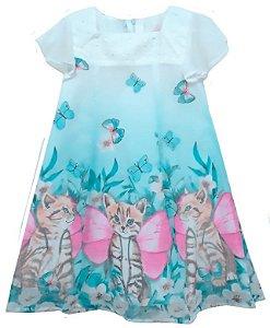 Vestido infantil feminino momi gato borboleta off white