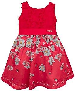 Vestido infantil feminino momi barrado vermelho flores