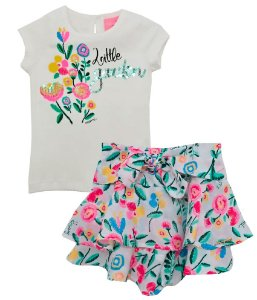 Conjunto infantil feminino momi Little garden shorts