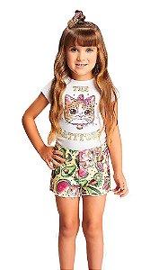 Conjunto infantil feminino Momi com shorts gatinha