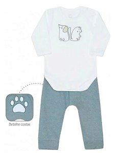 Conjunto de bebê dedeka body térmico calça soft cães e gatos