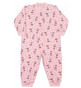 Macacão infantil menina dedeka moletinho alces rosa