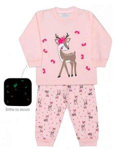 Pijama infantil feminino dedeka moletinho alce brilha escuro