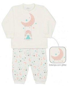 Pijama infantil feminino dedeka moletinho estrelas e luas