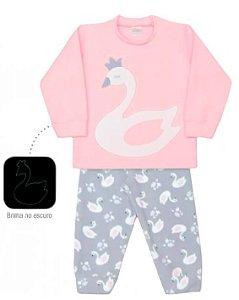 Pijama infantil feminino dedeka soft cisnes brilha no escuro