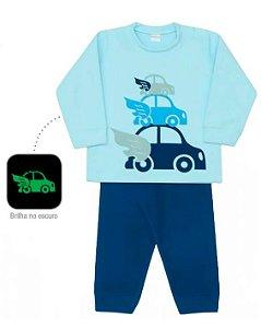 Pijama infantil masculino dedeka soft carrinho brilha escuro