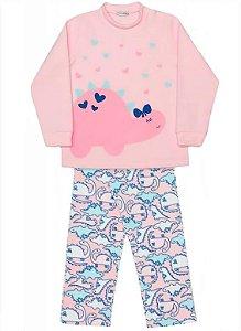 Pijama infantil feminino dedeka soft dino rosa