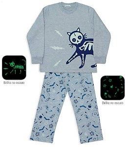 Pijama infantil dedeka moletinho gato brilha no escuro