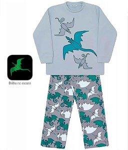 Pijama infantil masculino dedeka dragões brilha no escuro