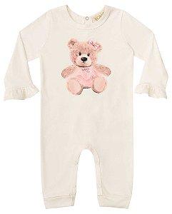 Macacão de bebê Kukie suedine urso bailarina