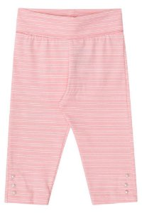 Legging de bebê Kukie suedine rosa listas brancas