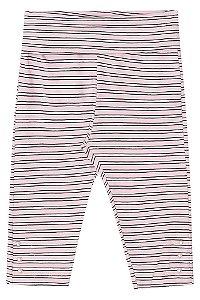 Legging de bebê Kukie suedine rosa listas preta