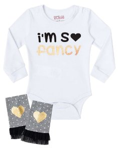 Conjunto de bebê kukie Body com polaina I´m so fancy