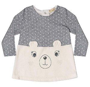 Vestido de bebê Kukie Urso poá Plush e Suedine