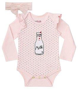 Conjunto de bebê kukie Body com faixa rosa poá milk