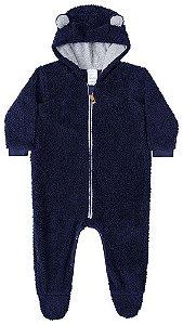 Macacão de bebê Luc.boo azul marinho urso pelo