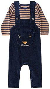 Conjunto de bebê Luc.boo jardineira Veludo body suedine urso