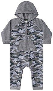 Macacão de bebê Luc.boo cinza exército com capuz