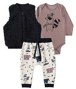 Conjunto de bebê 3 peças Luc.boo Body colete calça tribo