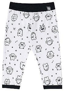 Calça de bebê Luc.boo monstrinhos branco e preto