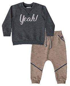Conjunto de bebê Luc.boo blusa e calça de moletom yeah!