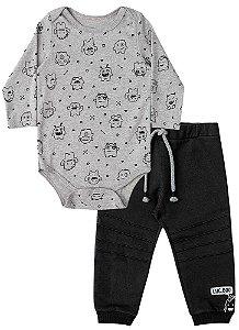 Conjunto de bebê Luc.boo body calça moletom monstrinhos
