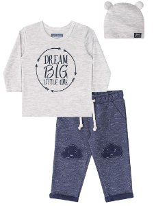 Conjunto de bebê 3 peças Luc.boo Dream Big azul