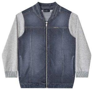 Jaqueta infantil Luc.boo moletom cinza e malha denim jeans
