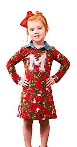Vestido infantil Momi macaquinhos vermelho