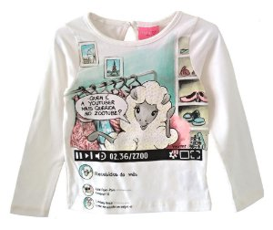 Blusa infantil Momi manga longa ovelha youtuber