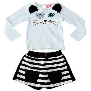 Conjunto infantil momi gatinha listras saia shorts moletom