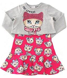 Vestido infantil Momi com blusa de moletom cat lovers