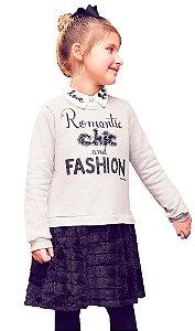 Vestido infantil momi moletom chic fashion saia em pelo