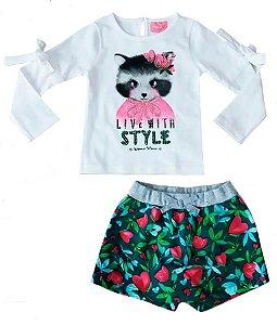 Conjunto infantil Momi raposa com saia shorts tulipa coração