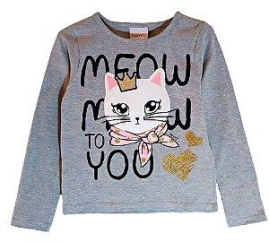 Blusa infantil momi manga longa gatinha meow