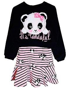 Vestido infantil Momi panda listras com blusa de moletom
