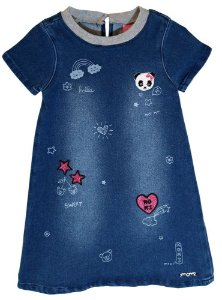 Vestido infantil Momi panda jeans carimbos