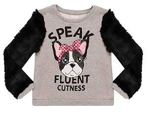 Blusa de moletom infantil momi pug speak fluent manga pelo