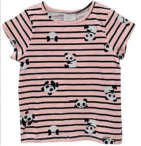 Blusa infantil momi manga curta panda rotativo rosa listras