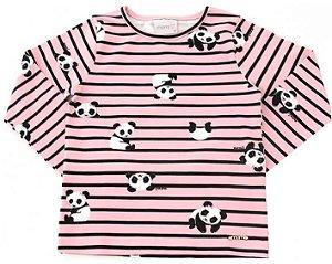 Blusa infantil momi manga longa panda rotativo rosa listras