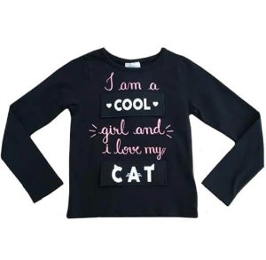 Blusa infantil momi manga longa cool and fashion girl preto